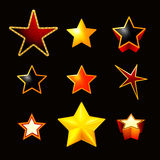Stars set on black Royalty Free Stock Photo