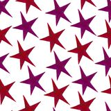 Stars - a set of red and purple hand-drawn watercolor stars, isolated on white vector illustration