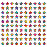 100 stars set. Illustration drawing color 100 star set collection white colors background graphic element design Stock Photo