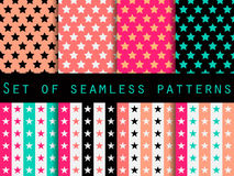 Stars. Set seamless patterns. Blue and pink color. The pattern for wallpaper, bed linen, tiles, fabrics, backgrounds. Vector Stock Photo