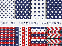 Stars. Set seamless patterns. Red, blue and white color. The pattern for wallpaper, bed linen, tiles, fabrics, backgrounds. Stock Images