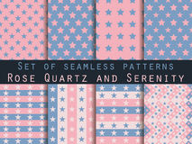 Stars. Set seamless patterns. Rose quartz and serenity violet colors. Color trend in 2016. Royalty Free Stock Images
