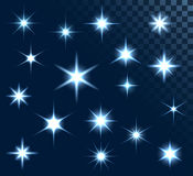 Stars. Set of stars and sparkles, collection of design elements, on transparent background, EPS 10 Royalty Free Stock Photos