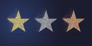 Golden stars party collection stock photo