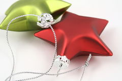 Stars of the Show. Red and Green metallic Christmas Stars Royalty Free Stock Photo