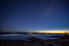Stars in the sky at sunrise. Stars in the sky at dawn in the Carpathians royalty free stock photography