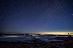 Stars in the sky at sunrise. Stars in the sky at dawn in the Carpathians royalty free stock images