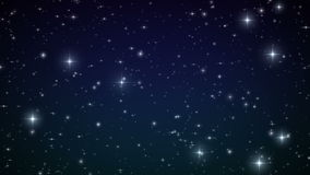Stars in the Sky. Looped animation. Beautiful Night with twinkling flares. HD 1080.  vector illustration