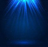 Stars, sky, night. Blue rays. Glare. Royalty Free Stock Photo