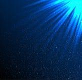 Stars, sky, night. Blue rays. Glare. Stock Photography