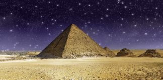 Stars and Sky over the Great Cheops Pyramid. Egypt Royalty Free Stock Photo