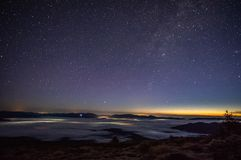 Stars in the sky at sunrise. Stars in the sky at dawn in the Carpathians royalty free stock photos