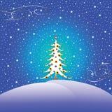 Stars snow and christmas tree Royalty Free Stock Photo