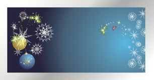 Stars, snowflakes and balls. Christmas banner Stock Image