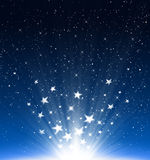 Stars and snowflakes new year 2012. Stars and snowflakes light Up to the sky, in merry christmas and new year 2012 on blue background Vector Illustration