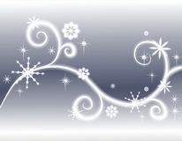 Stars Snowflakes Silver Background