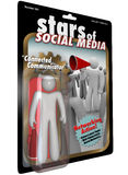 Stars of Social Media Action Figure Communicator. Stars of Social Media Action Figure man with bullhorn using the latest social networking tools and websites to Stock Images
