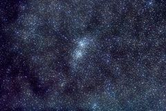 Stars space. Universe / Space / astronomy / starfield photo: Milky Way in Perseus constellation with Deep Sky Object known as Double Star Cluster (Chi-H) that is Royalty Free Stock Photography