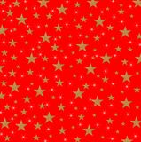 Stars and Sparkles on metallic background. Christmas card, New Year holiday with yellow stars and sparkles on a shaded simple red background stock illustration