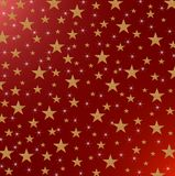 Stars and Sparkles on red metallic background. Christmas card, New Year holiday with yellow stars and and sparcled on a shaded red metallic background stock illustration