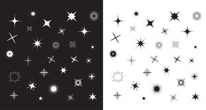 Stars Sparkles sign symbol set. Cute shape collection. Decoration element. Black and white background. Flat design. Stock Images
