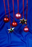 Stars and spheres. On a dark blue background Stock Photography