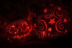 Stars and spirals pumpkin Royalty Free Stock Photography