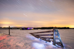 Stars. Star trails at winter night Stock Image