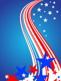Stars and stripes. Illustration of colorful stars and stripes on a blue background royalty free illustration