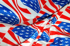 Stars and stripes. Texile printing of American flags Stock Images