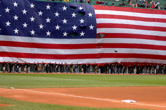 Stars and Stripes. Displayed over the Green Monster, Fenway Park, Boston, MA Stock Photos