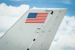 Stars and stripes. Flag on the tail fin of an aircraft Stock Photography