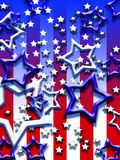 Stars and stripes. Stars pouring over red and white stripes Stock Photo