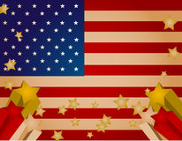 Stars and Stripes. Vintage looking american flag background with shooting stars Stock Photography