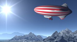 Stars&stripes. 3d render of a red and white striped zeppelin stock photography