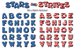 Stars & Stripes Alphabet. Original design, mix & match alphabet in red, white & blue stars & stripes. For Fourth of July, summer picnics, reunions, patriotic Royalty Free Stock Photos
