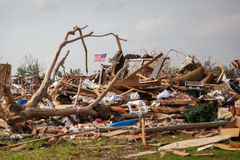 Tornado Damage American Flag Stock Photo