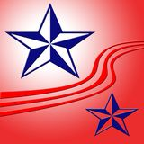 Stars and stripes background. Illustration of decorative blue stars and red stripes Stock Photos