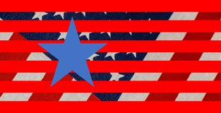 Stars and stripes background with woven flag in background and graphic stars and stripes and one perfect blue star in foreground stock illustration