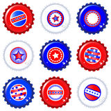 Stars & Stripes bottle caps. Stars & Stripes bottle caps. USA Fourth of July emblems Royalty Free Stock Photo