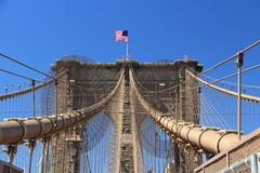 Stars & Stripes on Brooklyn Bridge, New York, USA Stock Images