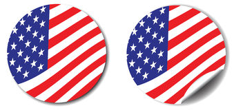 Stars, stripes button and sticker Stock Photo