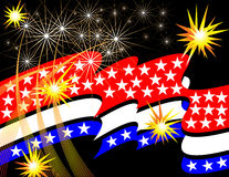 Stars and Stripes Celebration. Stars, stripes, and fireworks are featured in an abstract background illustration Royalty Free Stock Photography