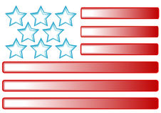 Stars and Stripes Design. Blue stars, red gradient stripes represent the American flag Stock Photo