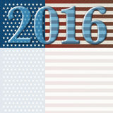 2016 Stars and Stripes. Digital Illustration of the year 2016 against the red, white, and blue stars and stripes of the United States flag. Includes an area to vector illustration