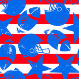 Stars and Stripes distressed football seamless pattern Stock Image