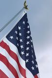 Stars and Stripes at dusk. Closeup of flag at sunset Royalty Free Stock Photo
