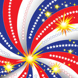 Stars, Stripes, Fireworks. Stars, stripes, and bursts of fireworks are featured in a Fourth-of-July themed background illustration Stock Photos