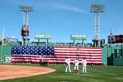 Stars & Stripes Forever. An American Flag the size of almost the entire Green Monster is unfurled Stock Images