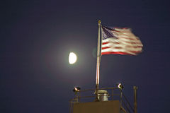 Stars and Stripes at Night USA. Moonlight Stars and Stripes - American Flag Royalty Free Stock Image